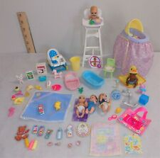Barbie Krissy 5 Babies Baby Infant Highchair Cradle Toys + Euc