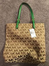 Michael Kors Beige Signature Jet Set Signature NS Tote Gold Green