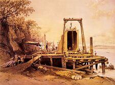PAINTINGS DRAWING BRITANNIA BRIDGE STEPHENSON WALES ARCHITECTURAL POSTER LV3021