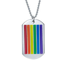 Silver Lesbian Gay LGBT Rainbow Dog Tag Stainless Steel Necklace Jewellery Gift