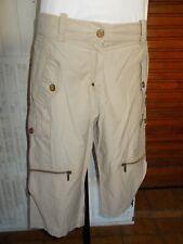ORIGINAL Pantalon court pantacourt beige CELINE B 42 poches et bas zip 17ETJ66