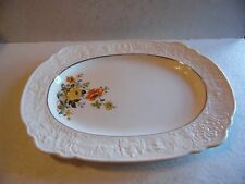 Vintage Old Holland USA Ware Yellow Roses Orange Poppy Floral Serving Platter