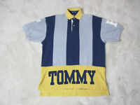 VINTAGE Tommy Hilfiger Polo Shirt Adult Small Gray Blue Striped Spell Out 90s *