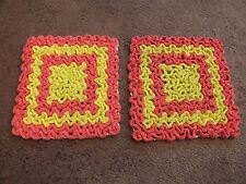 Collectible Handmade Crocheted Pot Holder Set 2 Ruffle Design Pink Yellow NICE