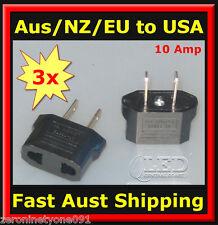 AU Aust NZ to USA Style AC Power Travel Plug 10 Amp Adapter Converter 3pc (mini)
