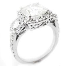 2.35CTW CUSHION CUT ANTIQUE STYLE THREE  3 STONE DIAMOND ENGAGEMENT RING C26