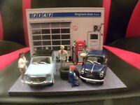 Diorama Voitures Miniatures 1/43 Garage Fiat (unique)