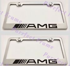 """2X MERCEDES """"AMG"""" Stainless Steel License Plate Frame Rust Free W/ Bolt Caps"""