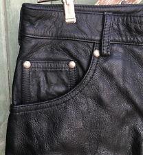 Black Genuine Leather 501 Style Jeans Size12 Ladies Retro Black Pants Leather