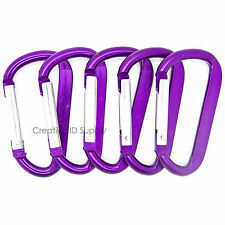 "LOT 100 HIGH QUALITY PURPLE CARABINER SPRING BELT CLIP KEY CHAIN 2.25"" ALUMINUM"