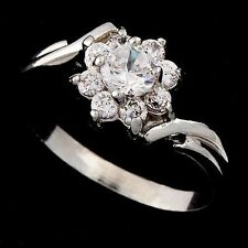 Cool Women crystal Flower Ring Gifts White Gold Filled Size 7.5 Free Shipping
