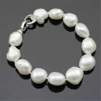 10-11mm White Baroque Pearl Bracelet 7.5inch Silver Buckle Aurora Cultured