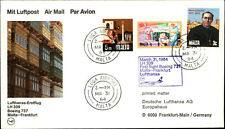 LUFTHANSA Erstflug Luftpost Airmail MALTA nach Frankfurt Briefmarken stamps 1984
