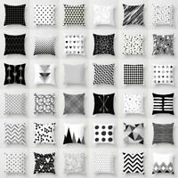 & Decor Geometric Square Cover Throw White Case Dazzling Cushion Pillow Black
