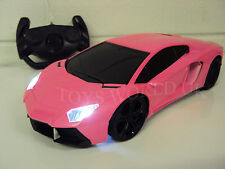 Lamborghini Aventador Radio Remote Control Car LED Lights 1/18 - Girls Pink