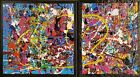 """Original Modern Contemporary Abstract Painting over 2 canvas. 14"""" h x 25"""" w"""
