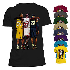 NBA Allstars Shirt Kobe Bryant Michael Jordan Lebron James Basketball Tee