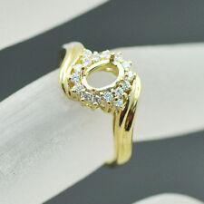 5x7mm Oval Cut Solid 14k 585 Yellow Gold Natural Diamond Semi Mount Wedding Ring