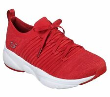 Slip On Red Skechers Shoes Memory Foam Women Comfort Casual Athletic train 13024