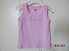 BENETTON LITTLE GIRLS CUTE PINK VEST TOP WITH SILVER LOGO 12 MONTHS 100% COTTON