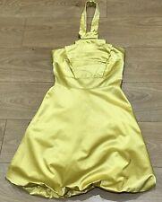 KAREN MILLEN BEAUTIFUL YELLOW SATIN COCKTAIL DRESS, SIZE 8