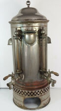 "Antique Nickel Plated Copper Commercial Coffee Urn 30"" Tall Steampunk"
