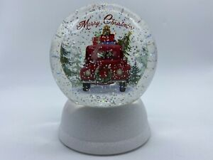 Merry Christmas Lighted SnowGlobe Frosted Base Vintage Truck