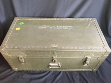 VINTAGE AIR FORCE - WW2 WWII Korea Army Military Foot Locker Metal Storage Trunk