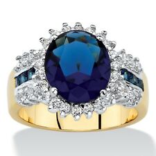 SAPPHIRE BLUE CRYSTAL AND WHITE CZ 14K GOLD GP RING SIZE 6 7 8 9 10 OVAL CUT