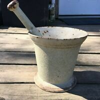 """Antique Large Cast Iron Mortar And Pestle 8"""" x 8"""" - 30 lbs! Mid 1700's"""