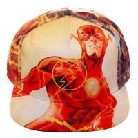 DC COMICS THE FLASH LOGO SUBLIMATED ALL OVER PRINT SNAPBACK HAT CAP ADJUSTABLE