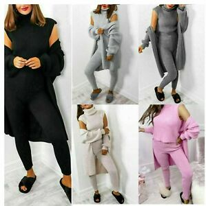 WOMENS LADIES 3 PIECE SUIT ROLL NECK CHUNKY KNITTED TRACKSUIT LOUNGE WEAR SET
