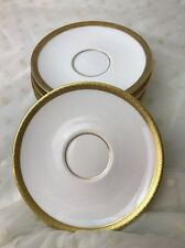 Set Lot 8 Royal Doulton Fine Bone China Royal Gold Edge Saucer Tea Cup Plate Vtg