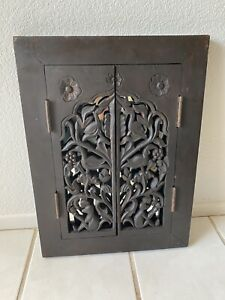 Vtg Detailed Carved Wood Window Shutter Gate Wall Mirror Cottage Decor 24 X 17