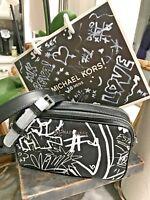 Michael Kors Graffiti Collection Small Double Zip Camera Bag / Crossbody Bag 248