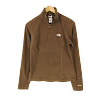 The North Face TKA 100 Fleece Jacket Pullover Brown Women's S 1/4 Zip Polyester