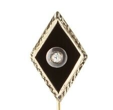 Antique Art Deco 14k White Gold Onyx Diamond Stick Pin 0211160125