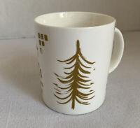 Starbucks Mug White With Gold Tree Blocks 2014 Starbucks Coffee Co 12 Fl Oz