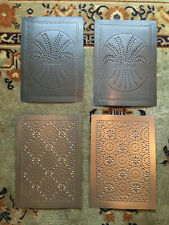 Lot of 4 Restored Antique Punched Tin Panels, Pie Safe, Decoration