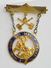 British Order of the Garter Honi Soit Qui Mal Y Pense Royal 10K Gold Medal Pin