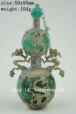 old jade snuff bottle armored dragon Phoenix decoration handwork craft  NR a01