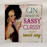 Gin drinker sassy classy Fabric Cotton Panel Make A Cushion Upholstery Craft