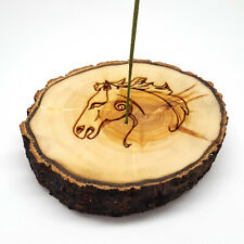 Celtic Horse Wooden Incense Holder, Handmade Incense Stick Burner,  Ash Catcher