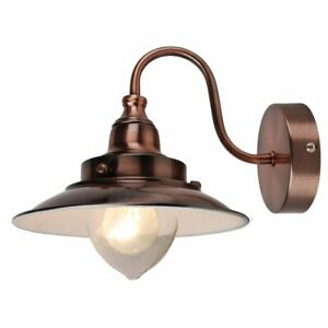 Modern Fishermans Style Wall Light Lamp in Antique Copper with White Gloss Inner