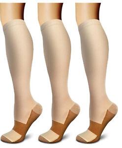 (3 Pairs) (S-XXXL) Copper Compression Support Socks 20-30mmHg Knee High Unisex