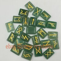 25Pcs Rune Stones aventurine Crystal Elder Futhark Alphabet Letterin Healing