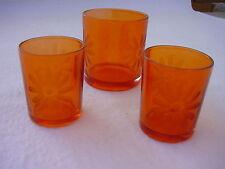3 kleine Windlichter Glässchen orange  2 x H 6,5 D 5,4 cm, 1 x H 8, D 7 cm Glas