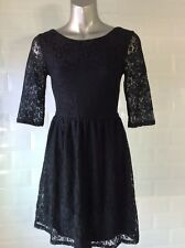 NEW SIZE 10 BLACK STRETCH LACE DRESS SCOOP BACK GOTH STEAMPUNK WHITBY PARTY