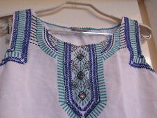 M&S Per Una White Linen Blend Blue & Green Embroidered Vest Top in Size 10