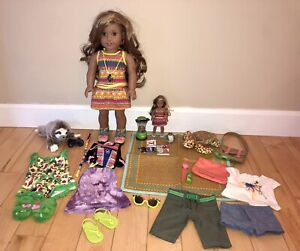 LOT American Girl LEA Clark Doll, 4 Outfits, Turtle, Sloth, Mini, Accessories
